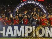 Selebrasi Timnas U-16 setelah menjadi juara Piala AFF U-16 2018 di sidoarjo.(Dipta Wahyu/Jawa Pos)